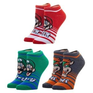 Nintendo Super Mario Bros Set of 3 Ankle Socks!
